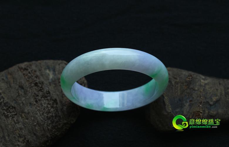 缅甸老坑糯冰种天然紫罗兰绿翡翠A货玉手镯-55.2内径