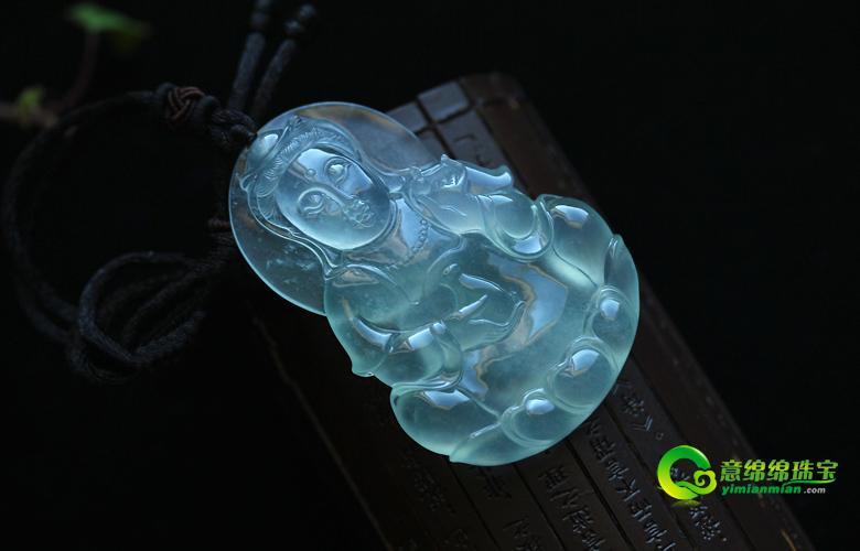 老坑玻璃种天然翡翠A货玉观音挂件-吉祥平安