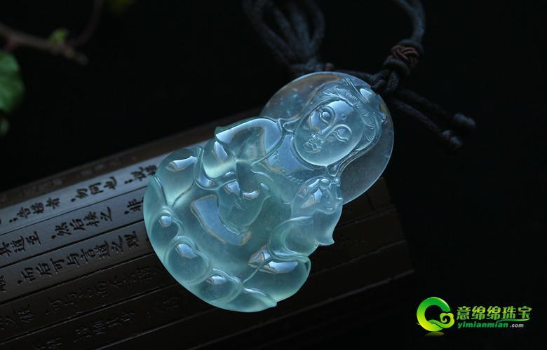 老坑玻璃种天然翡翠A货玉美高梅娱乐手机版官网挂件-吉祥平安