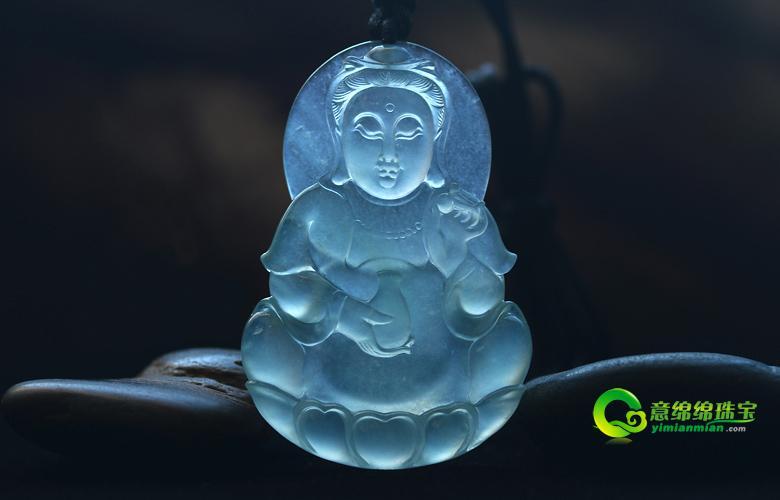 老坑玻璃種天然翡翠A貨玉觀音掛件-吉祥平安