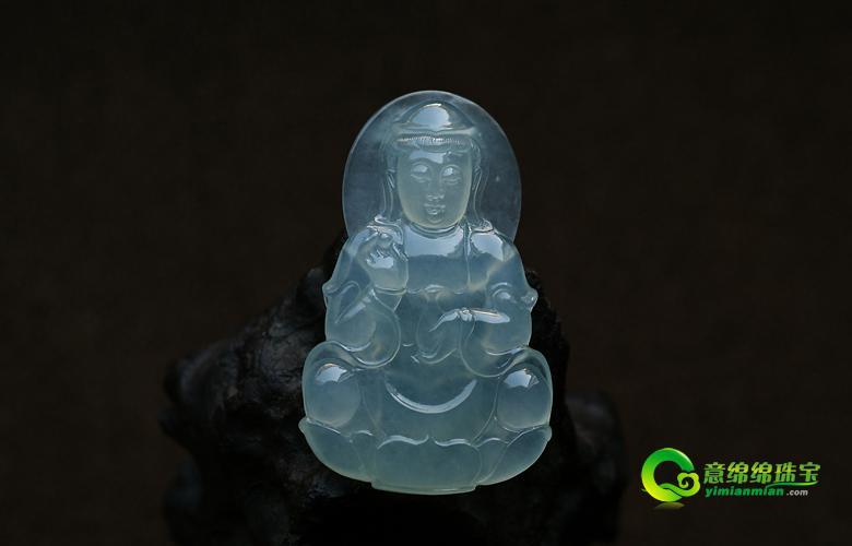 天然翡翠A货老坑玻璃种翡翠玉观音挂件-慈悲观世音