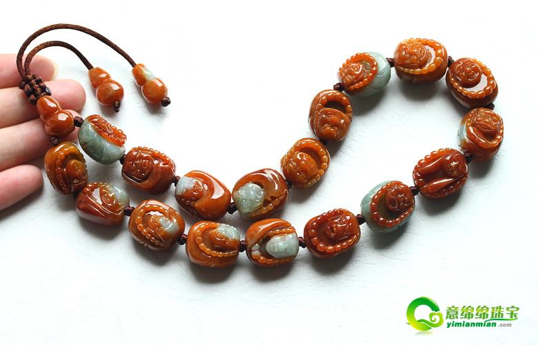 缅甸俏色巧雕天然红翡翠A货十八金刚罗汉护身玉美高梅国际网上娱乐
