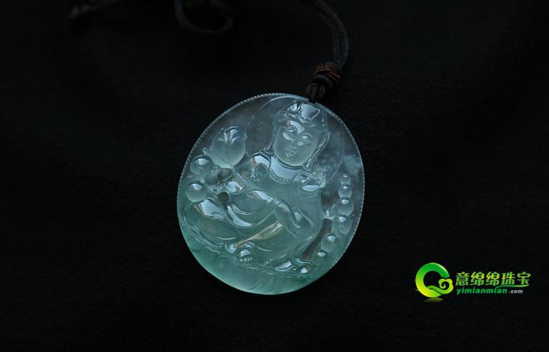 缅甸老坑玻璃种天然翡翠A货玉美高梅娱乐手机版官网挂件-南海观世音菩萨