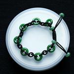 緬甸老坑糯種天然滿綠A貨翡翠玉環手鏈-平安玉手鏈