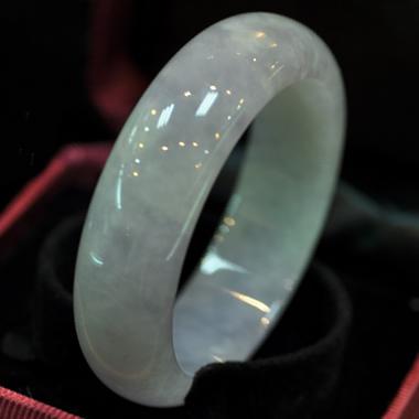 豐姿冶麗翡翠天然紫羅蘭玉手鐲A貨58*19*10mm
