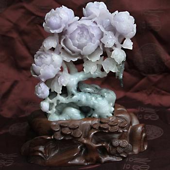 花開富貴緬甸天然翡翠牡丹大擺件