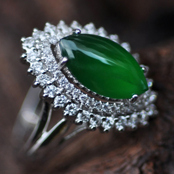 暮云清寒缅甸冰种马眼翡翠K金满绿戒指