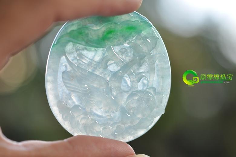 一鸣惊人天然缅甸翡翠冰糯种一路连科挂件