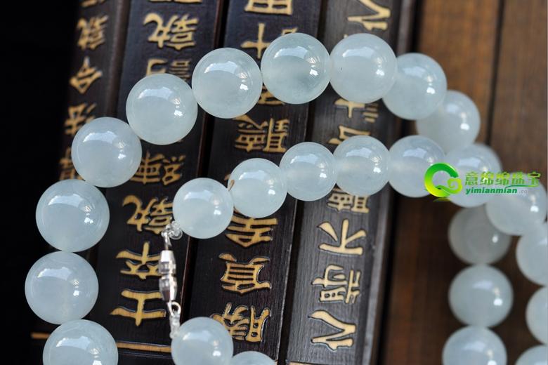 珠玉白皙缅甸天然冰种翡翠项链
