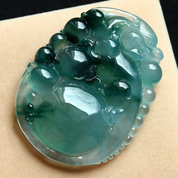 缅甸老坑冰玻璃种天然飘花翡翠A货玉貔貅挂件-有求必应