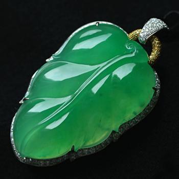 慧质兰心缅甸老坑坑玻璃种满绿天然翡翠A货玉树叶挂件