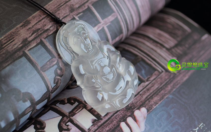 茶逞雅韵缅甸老坑天然A货玻璃种翡翠观音挂件