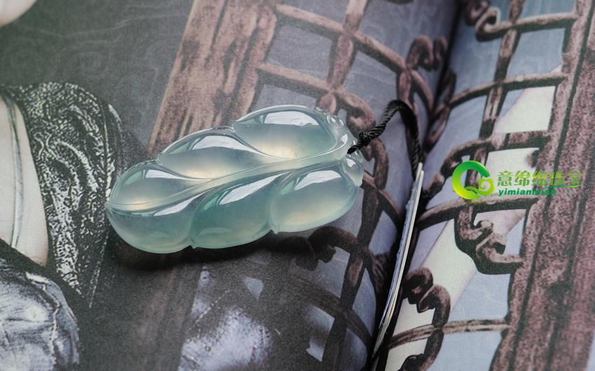 一世清纯天然缅甸老坑A货冰种翡翠玉叶子挂件