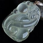 神龙在天缅甸老坑玻璃种天然荧光A货翡翠生肖龙挂件