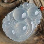 气质非凡缅甸老坑玻璃种天然A货翡翠貔貅挂件—连中三元