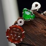 缅甸老坑天然A货阳绿带黄翡如意吊坠—18K金钻镶嵌