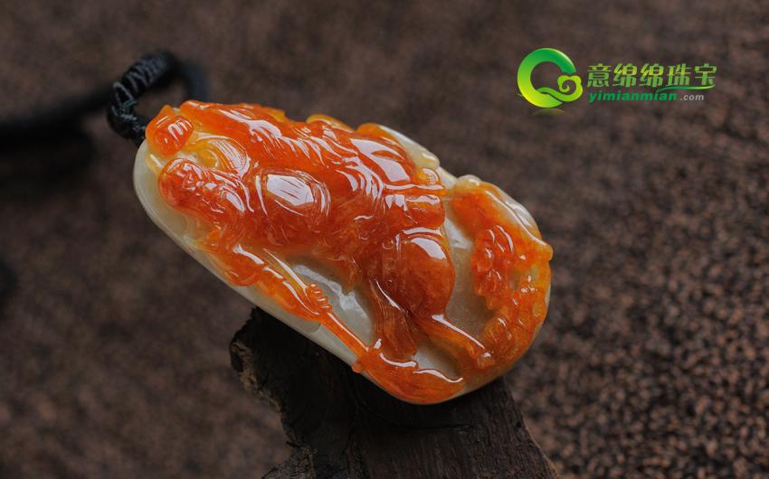 天然缅甸老坑糯种红翡A货关公挂件—英明神武