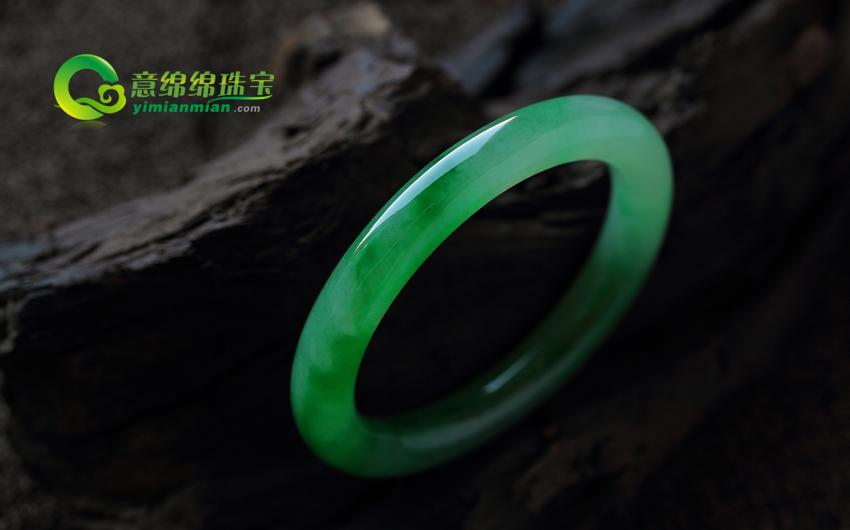 月里嫦娥老坑天然翡翠A货满绿圆条手镯(非卖) 内径54.7MM
