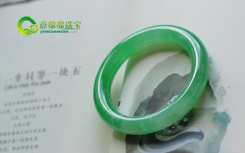 聘婷秀雅天然翡翠老坑A货满绿圆条玉手镯(非卖) 内径55.5MM