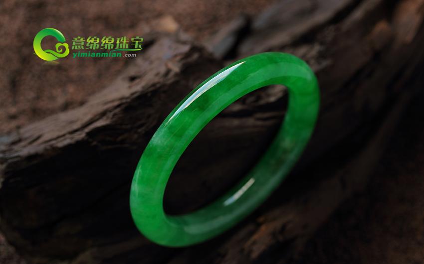 婉若游龙天然老坑翡翠A货满绿圆条手镯(非卖) 内径56.5MM