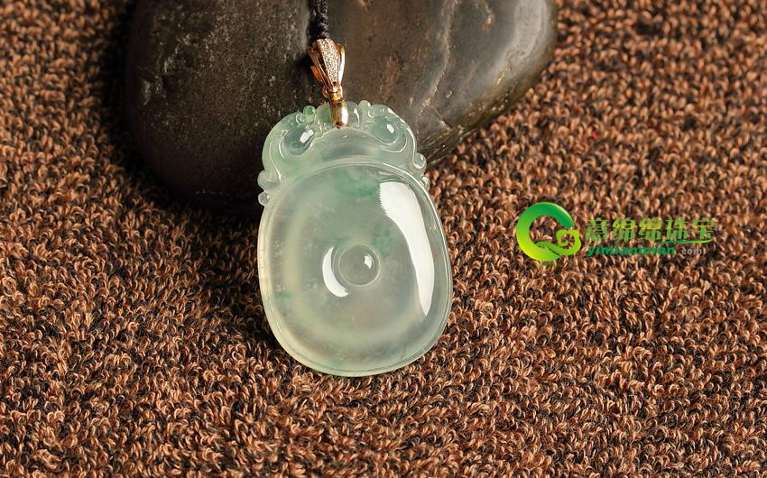缅甸老坑天然A货冰种带翠镶金福在眼前挂件