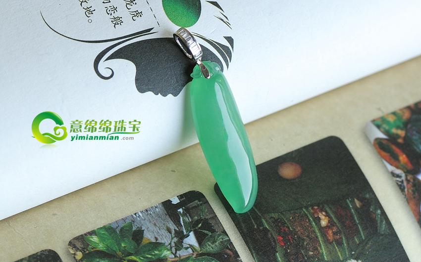 缅甸老坑天然冰种满绿翡翠A货玉福瓜挂件—福运齐天