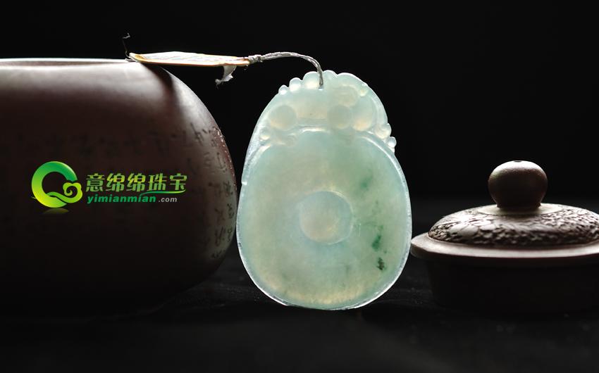 福寿康宁缅甸天然A货糯种翡翠飘花福在眼前挂件