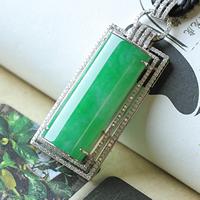 天然缅甸老坑满绿冰种18K金钻镶嵌翡翠玉A货挂件