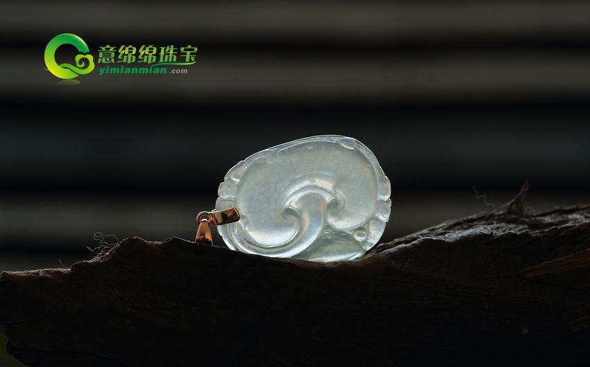 如你心意缅甸老坑镶金冰玻种翡翠天然A货如意挂件