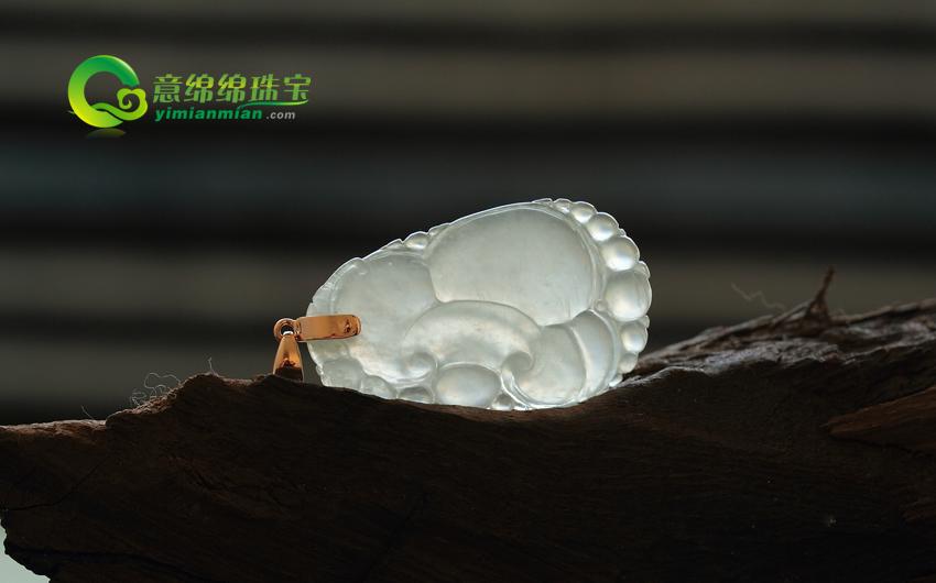 称心如意缅甸老坑A货翡翠冰种天然镶嵌如意挂件
