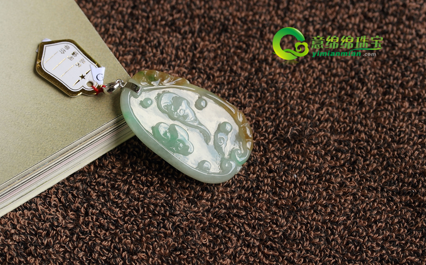天然老坑A货带黄飘绿镶嵌翡翠糯种福禄寿挂件
