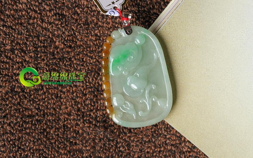缅甸老坑A货带黄飘绿冰糯种翡翠镶嵌福禄寿挂件