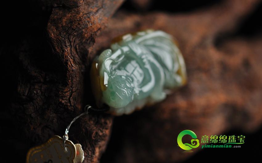 缅甸老坑天然A货冰糯种翡翠绿加黄福禄寿挂件