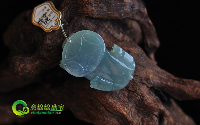 缅甸天然A货冰糯种貔貅翡翠挂件