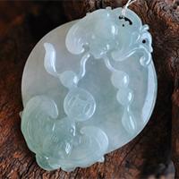 福气来临缅甸老坑天然冰糯种翡翠A货玉蝙蝠挂件