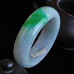 缅甸天然A货 老坑冰糯种翡翠 阳绿手镯 内径57.3MM