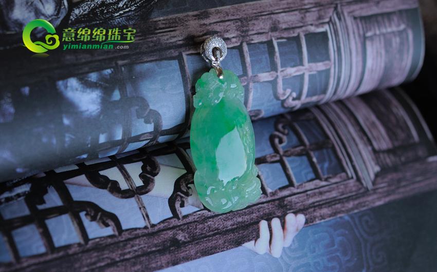 福如东海缅甸老坑天然冰种A货翡翠镶金钻寿桃挂件