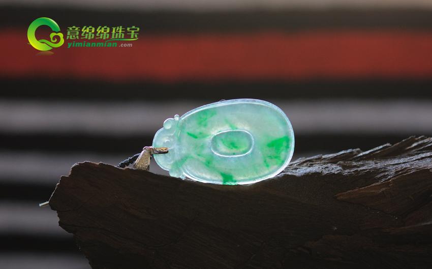 缅甸老坑天然A货冰种阳绿翡翠福在眼前挂件