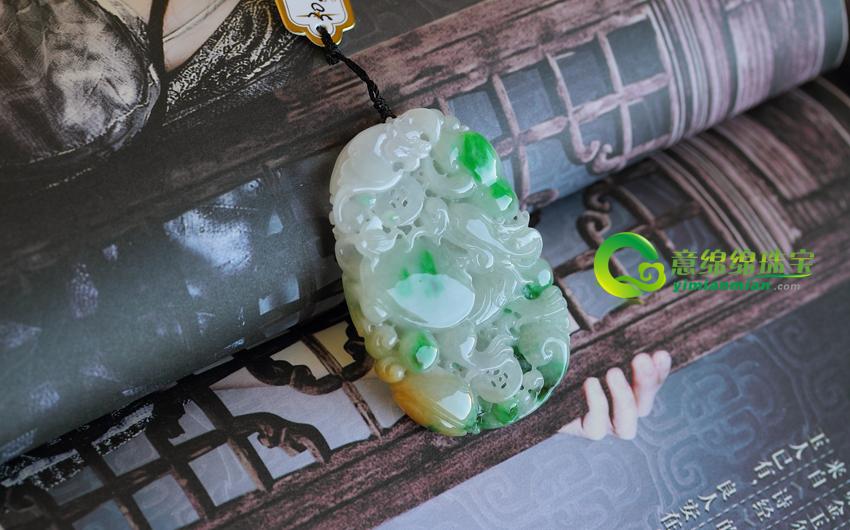 缅甸A货老坑天然冰糯种翡翠福禄寿挂件