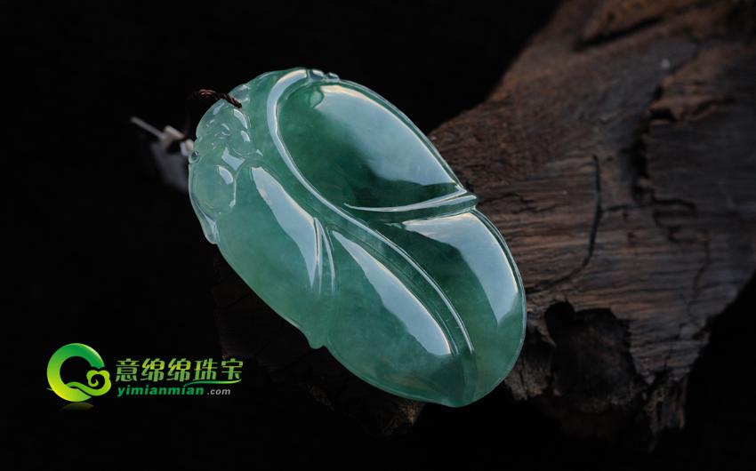 百业有成缅甸老坑天然冰糯种翡翠叶子挂件