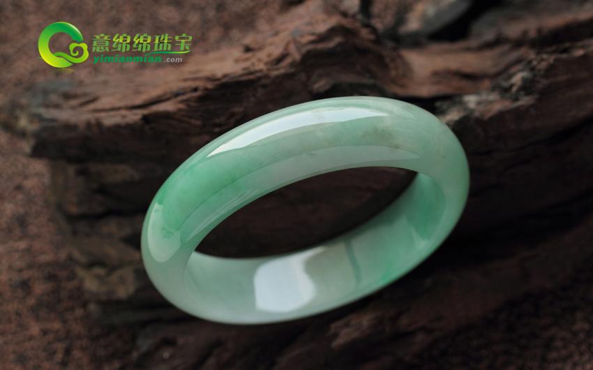 国色天香缅甸天然翡翠A货冰糯种翡翠手镯 内径60MM