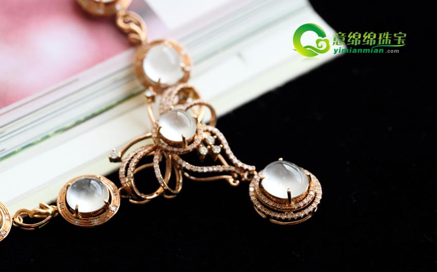 国色天香缅甸天然翡翠A货玻璃种镶金项链