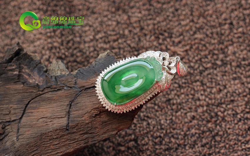 缅甸天然翡翠A货冰种镶金翡翠福在眼前挂件