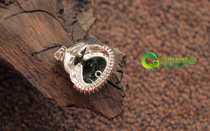 金钻镶嵌缅甸天然翡翠A货冰种佛公挂件