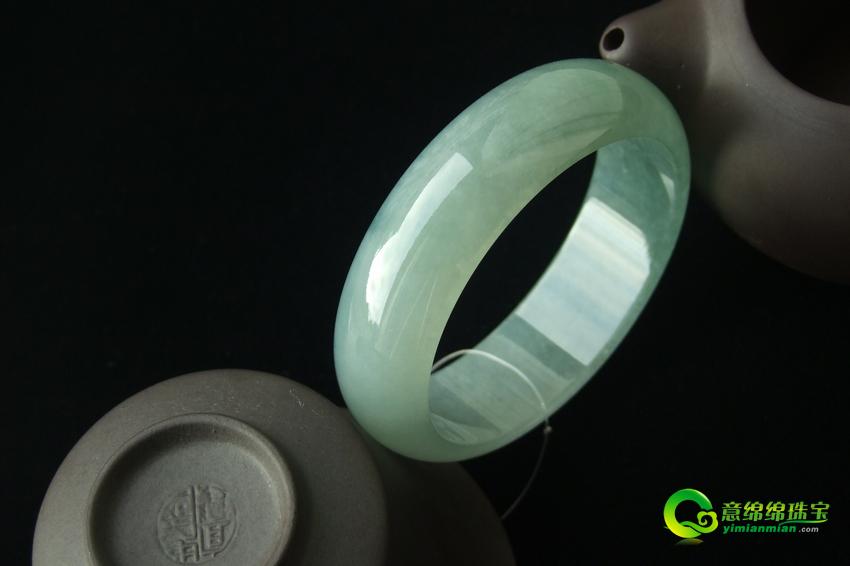 緬甸天然翡翠A貨冰種翡翠手鐲 內徑58.9mm