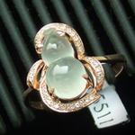 镶金钻老坑天然冰种翡翠玉葫芦戒指