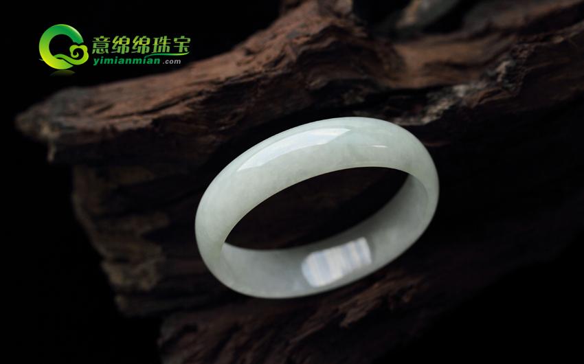 天然缅甸老坑A货翡翠圆形手镯 内径51.5MM