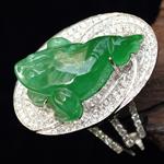 造型优美缅甸天然冰种满绿翡翠A货吊坠戒指两用镶金戒指