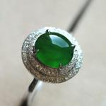 缅甸老坑玻璃种满绿翡翠A货玉石蛋面女士镶金戒指