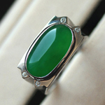 缅甸老坑玻璃种满绿翡翠A货玉石马案男士镶金戒指
